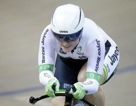 Australia's Anna Meares competes to win the silver medal in the Women's 500m Trial Time final race at at the UCI Track Cycling World Cup in Saint-Quentin-en-Yvelines, near Paris