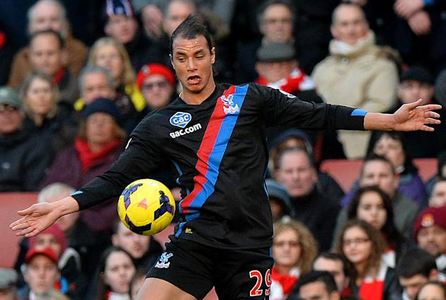 Crystal Palace's Moroccan striker Marouane Chamakh controls the ball during the English Premier League match between Arsenal and Crystal Palace at the Emirates Stadium in London on February 2, 201