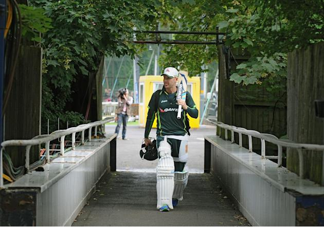 Australia captain Michael Clarke walks over a bridge after net practice in preparation for the third Ashes Test cricket match, against England at Edgbaston, Birmingham, England, Tuesday, July 28, 2015