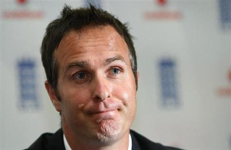 Former England cricket captain Michael Vaughan listens to questions during a news conference, where he announced his retirement, at Edgbaston Cricket Ground in Birmingham, central England June 30, 200