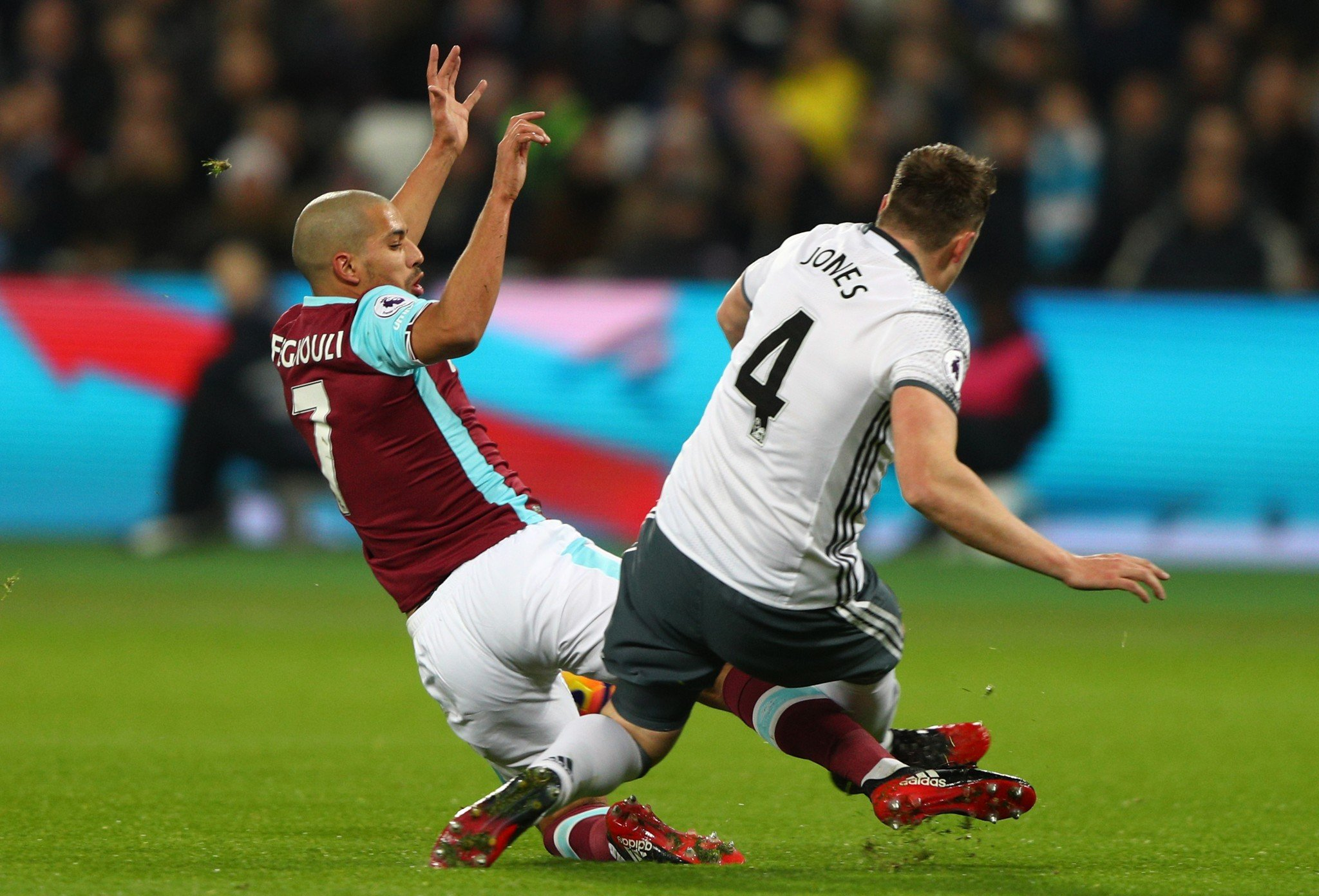 Sofiane Feghouli was sent off for this tackle on Phil Jones