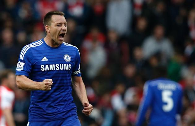 Chelsea defender John Terry during the Premier League match against Arsenal at Emirates Stadium on April 26, 2015