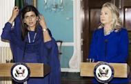 Pakistani Foreign Minister Hina Rabbani Khar (L) and US Secretary of State Hillary Clinton speak to the media in Washington. Pakistan and the US are repairing ties which had plunged to an all-time low, Khar said, despite violent anti-American protests rocking her country