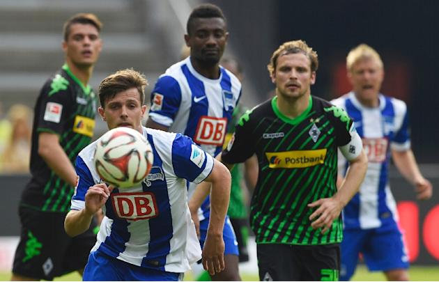 Hertha's Swiss midfielder Valentin Stocker runs for the ball during their German first division Bundesliga football match against Borussia Moenchengladbach at the Olympic Stadium in Berlin on May