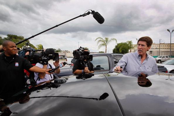 The defense attorney for George Zimmerman, Mark O'Mara, speaks to the media after leaving the John E. Polk Correctional Facility where he met with his client as he waits to be released on bond on Apri