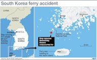 Updated map showing the area off the south coast of South Korea where a ship carrying 477 people capsized on Wednesday