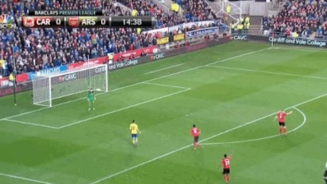 Olivier Giroud through on goal, stops cos he thinks he's offside… he isn't