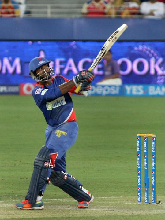 Delhi Daredevils batsman Dinesh Karthik in action during the match against Kolkata Knight Riders at Dubai International Cricket Stadium on April 19, 2014. (Photo: IANS)