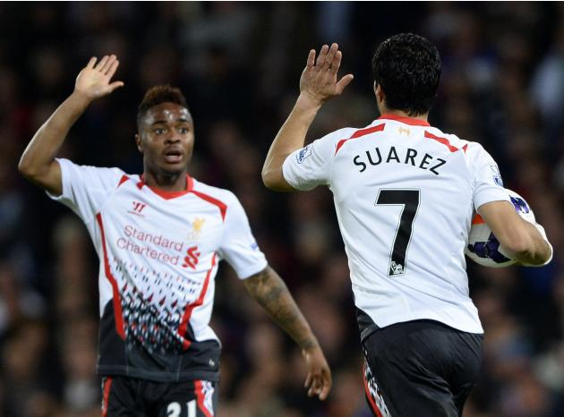 Liverpool's Suarez celebrates with team mate Sterling after scoring a goal against Crystal Palace during their English Premier League soccer match at Selhurst Park in London