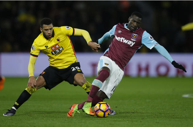 West Ham United's Pedro Obiang in action with Watford's Etienne Capoue