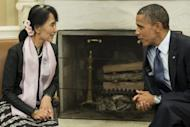 US President Barack Obama was deeply impressed by Aung San Suu Kyi during their private meeting in the Oval Office in September (pictured), and told aides the National League for Democracy leader lived up to her billing