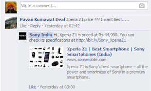 How White Good Brands are Managing their Customer Support on Social Media image Sony India Facebook Customer Support