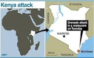 Map of Kenya locating Mombasa, where a woman died after a grenade attack on Tuesday, police said. Kenyan police have arrested a man suspected to have taken part in the grenade attack on a restaurant in the coastal city of Mombasa that killed one, police chief Mathew Iteere told journalists Wednesday