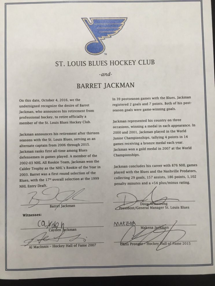 Barret Jackman's one-day contract.