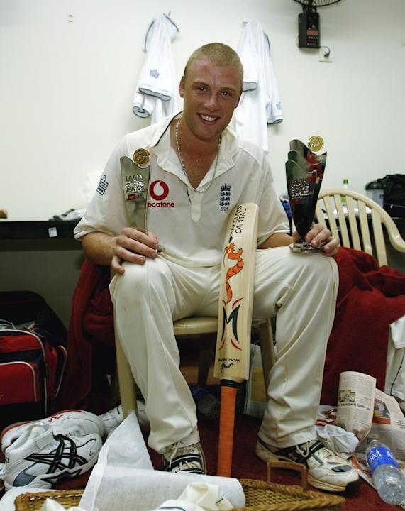 MUMBAI (BOMBAY), INDIA - MARCH 22:  Man of the Match and Man of the Series Andrew Flintoff of England poses with his trophies on day five of the Third Test Match between India and England at the Wankh