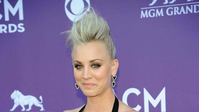 Actress Kaley Cuoco arrives at the 48th Annual Academy of Country Music Awards at the MGM Grand Garden Arena in Las Vegas on Sunday, April 7, 2013. (Photo by Al Powers/Invision/AP)