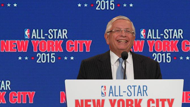 NBA commissioner David Stern smiles as he speaks during a press conference Wednesday Sept. 25, 2013, in New Yor,k announcing the selection of New York City to host NBA All-Star 2015. The 64th NBA All-Star game is scheduled to be played at New York's Madison Square Garden Sunday Feb. 15, 2015, with Friday and Saturday night events being held at the Barclays Center in the Brooklyn borough of New York