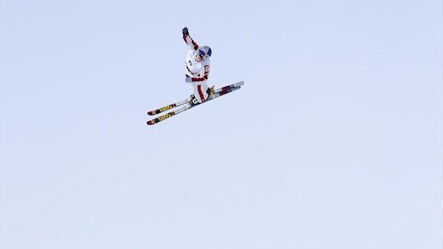 Travis Gerrits of Canada competes in the Men's Aerials race at the FIS Freestyle World Ski Championships in Voss March 7, 2013 (Reuters)