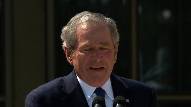 George W. Bush gets emotional at library dedication