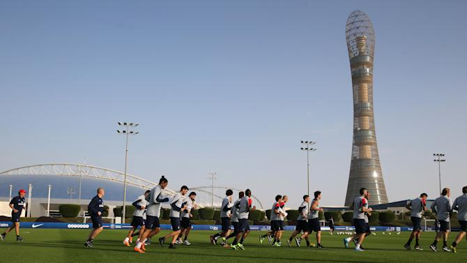 Paris Saint-Germain players take part during a training session at the Aspire Academy of Sports Excellence in Doha
