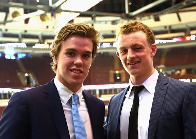 Upcoming NHL draft picks Connor McDavid (L) and Jack Eichel (R).  (Photo by Bruce Bennett/Getty Images)