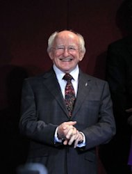 Newly elected Irish President Michael D. Higgins smiles during the official announcement of the Irish presidential election's results at Dublin Castle in Dublin. Irish poet and human rights activist Michael D. Higgins was officially confirmed as his country's ninth president after a marathon two-day count