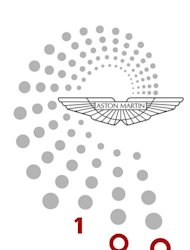 Aston Martin's centenary logo: the dynamic shape derived from nature's nautilus shell, is made up of 99 points with the red 100 marking the celebration year. It is a dynamic expression of forward motion - acknowledging the past, yet with a strong and positive path to the future.