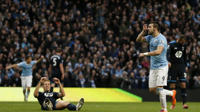 Manchester City's Alvaro Negredo celebrates his goal during their English Premier League soccer match against Tottenham Hotspur at the Etihad Stadium in Manchester