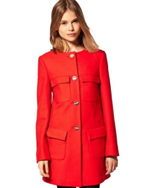 Stand to attention in this collarless coat with large military-style buttons that add impact.  £100, asos.com