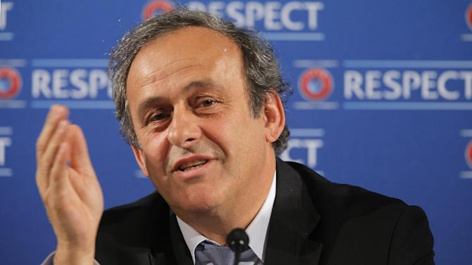 "In this Saturday, Feb 22, 2014 file photo UEFA President Michel Platini  speaks during a press conference, one day prior to the UEFA EURO 2016 qualifying draw at the Acropolis Convention Centre in Nice, southeastern France. Seeking to bolster national team football amid the rampant success of club competitions, UEFA's 54 member countries voted Thursday to create the Nations League. UEFA boosted the new event by guaranteeing it would feed into qualifying for the 2020 European Championship. It could later be incorporated into European qualifying for the 2022 World Cup. ""This is a very important decision for the future of football at the level of national teams,"" UEFA President Michel Platini said Thursday after the unanimous vote at European football's annual congress"