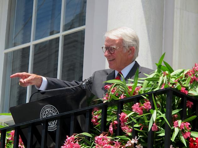Charleston Mayor Joseph P. Riley Jr. points at a member of the audience during the opening ceremonies of the Spoleto Festival USA in Charleston, S.C., Friday, May 22, 2015. It was the last time Riley