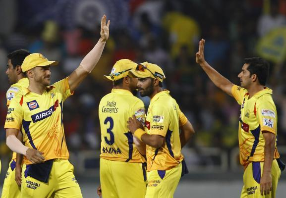 Ranchi: Chennai Super Kings celebrate fall of a wicket during the second qualifier match of IPL 2015 between Chennai Super Kings and Royal Challengers Bangalore at JSCA International Cricket Stadium i