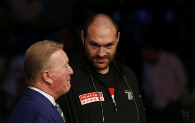 Tyson Fury with Promoter Frak Warren before the fight