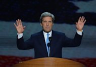 Senator of Massachussetts John Kerry speaks on foreign policy at the Democratic National Convention
