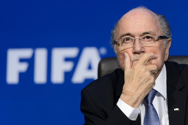 FIFA president Sepp Blatter gives a press conference at football's world body headquarter's in Zurich