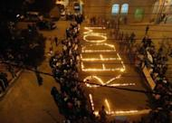 A picture released by the Syrian opposition's Shaam News Network shows an anti-regime protest in the town of Zabadani