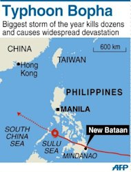 Map of Philippines locating the path of Typhoon Bopha across Mindanao and the devastated village of New Bataan.