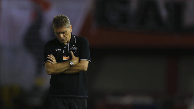 Coach Paulo Autuori of Brazil's Atletico Mineiro reacts during their Copa Libertadores soccer match against Paraguay's Nacional in Ciudad del Este