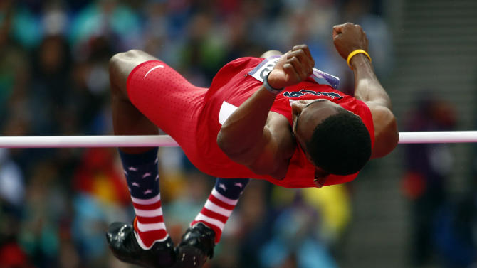Erik Kynard of the U.S. competes in men's high jump final at London 2012 Olympic Games