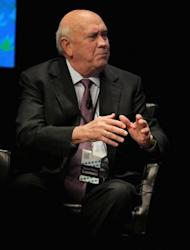 Former South African President Frederik Willem de Klerk speaks during a panel discussion at the University of Illinois at Chicago as part of the World Summit of Nobel Peace Laureates, on April 23, in Chicago, Illinois. The 12th World Summit of Nobel Peace Laureates convenes in Chicago and runs through Wednesday, April 25