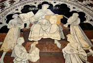 Details of the mosaic floor in the Siena cathedral are pictured in August 2012. Magnificent Renaissance mosaics in the floor have been unveiled to give visitors a rare glimpse of scenes it took local artists 500 years to create