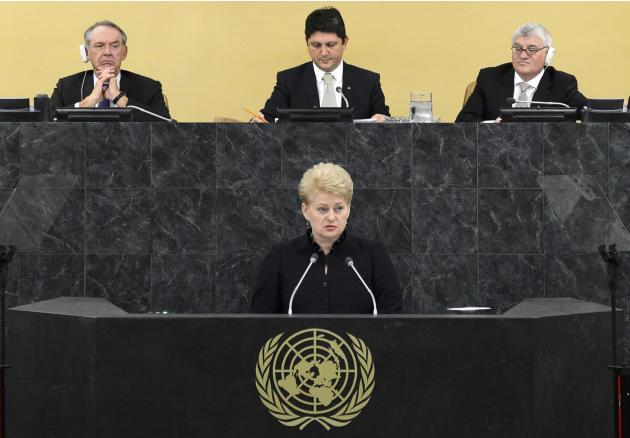 Dalia Grybauskaite, President of the Republic of Lithuania, addresses the 68th United Nations General Assembly at U.N. headquarters in New York