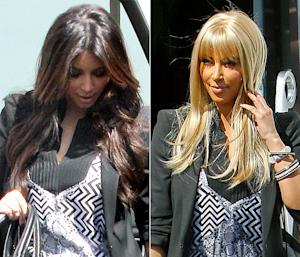Kim Kardashian Wears Platinum Blonde Wig in Public!