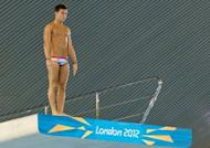 British diver Tom Daley prepare to dive during a practice session at the Aquatics Centre in London's Olympic Park on July 16. Britain will be hoping Daley can challenge for honours in the 10m synchronised platform final where he competes with partner Peter Waterfield