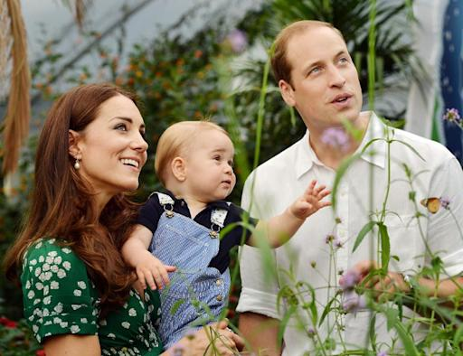 Prince William (left) and Catherine, Duchess of Cambridge with Prince George during a visit to the Sensational Butterflies exhibition at the Natural History Museum in London on Wednesday July 2, 2014