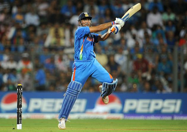 Indian batsman Mahendra Singh Dhoni hits