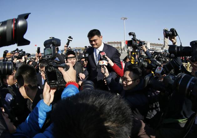 Former NBA player Yao Ming, also a delegate, arrives at the closing ceremony of the CPPCC at the Great Hall of the People in Beijing