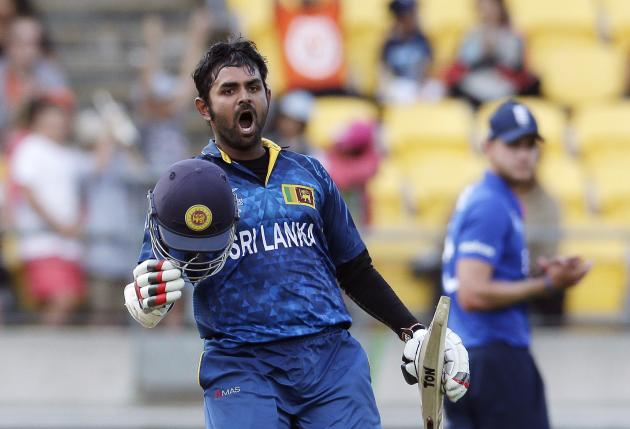 Sri Lanka's Thirimanne celebrates reaching his century during their Cricket World Cup match against England