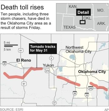 Map shows tornado track for May