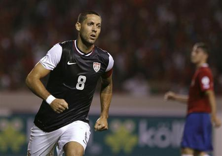 Clint Dempsey of the U.S. celebrates his goal against Costa Rica during their 2014 World Cup qualifying soccer match at the National Stadium in San Jose